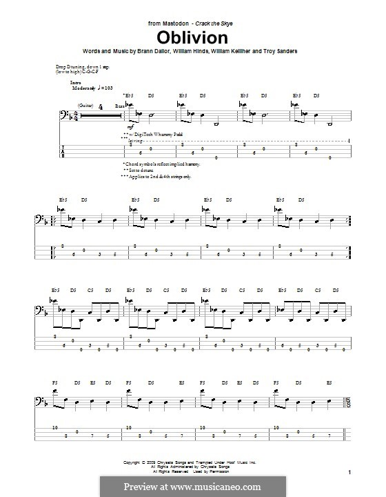 Oblivion (Mastodon): For bass guitar with tab by Brann Dailor, Troy Sanders, William Hinds, William Kelliher