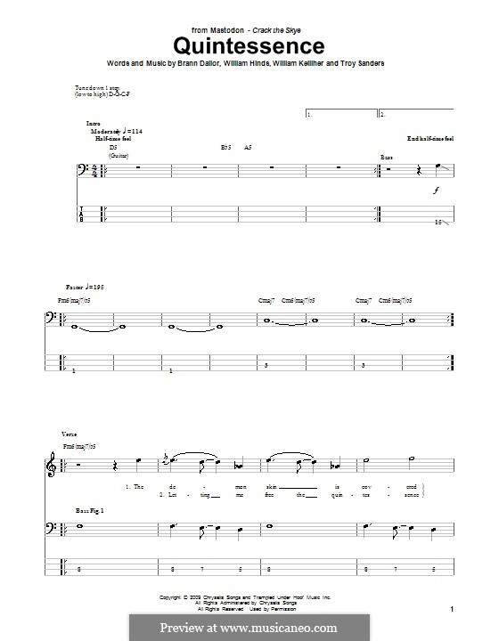 Quintessence (Mastodon): For bass guitar with tab by Brann Dailor, Troy Sanders, William Hinds, William Kelliher