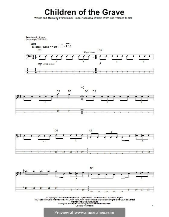 Children of the Grave (Black Sabbath): For bass guitar with tab by Geezer Butler, Ozzy Osbourne, Tony Iommi, Bill Ward