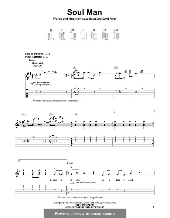 Soul Man (Sam & Dave): For guitar (very easy version) by David Porter, Isaac Hayes