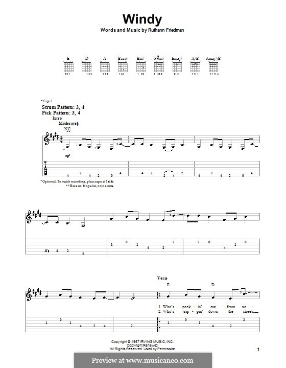Windy (The Association): For guitar (very easy version) by Ruthann Friedman