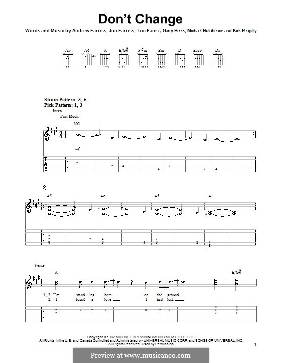 Don't Change (INXS): For guitar (very easy version) by Andrew Farriss, Garry Beers, Jon Farriss, Kirk Pengilly, Michael Hutchence, Tim Farriss