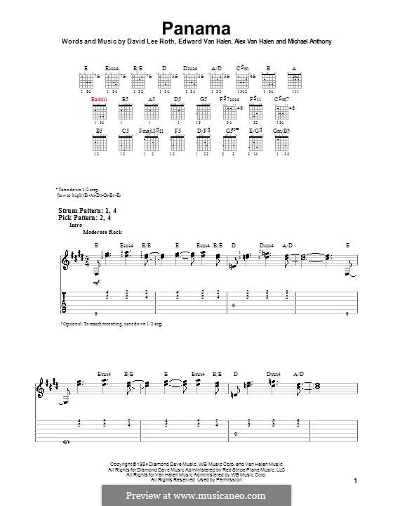 Panama (Van Halen): For guitar (very easy version) by Alex Van Halen, David Lee Roth, Edward Van Halen, Michael Anthony