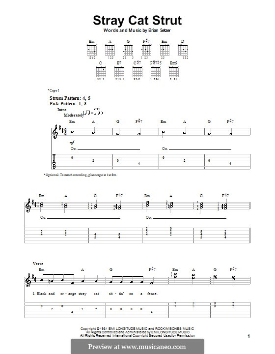 Stray Cat Strut (Stray Cats): For guitar (very easy version) by Brian Setzer