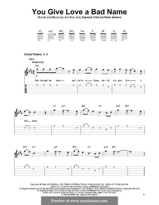 You Give Love a Bad Name (Bon Jovi): For guitar (very easy version) by Desmond Child, Jon Bon Jovi, Richie Sambora