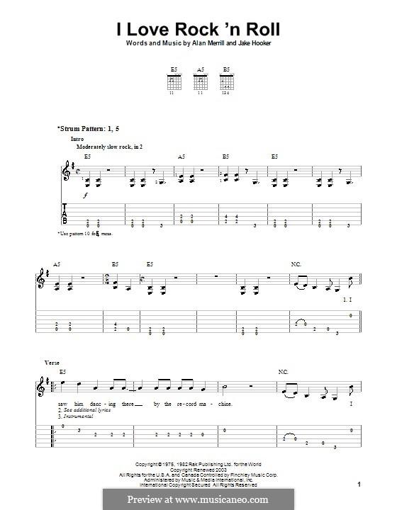 I Love Rock 'n Roll: For guitar (very easy version) by Alan Merrill, Jake Hooker