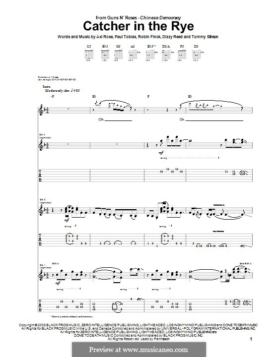 Catcher in the Rye (Guns N' Roses): For guitar with tab by W. Axl Rose, Dizzy Reed, Paul Tobias, Robin Finck, Tommy Stinson