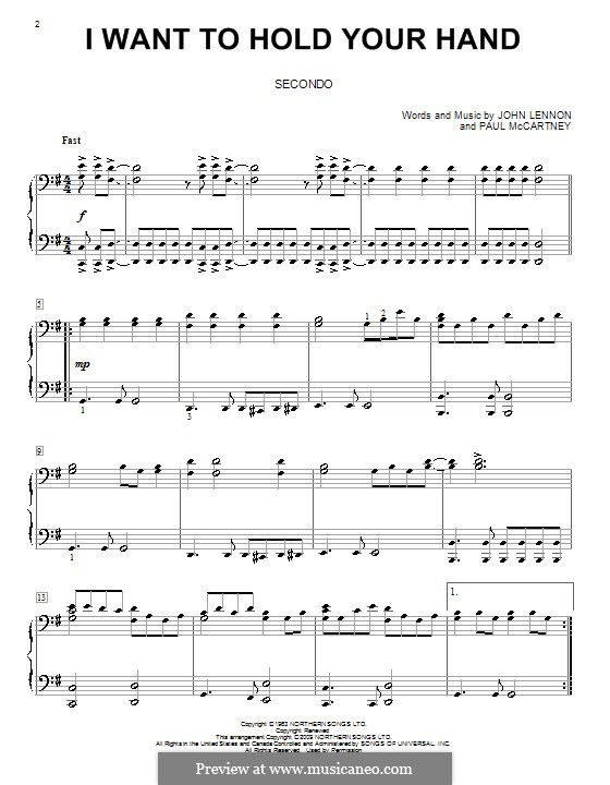 I Want to Hold Your Hand (The Beatles): For piano four hands by John Lennon, Paul McCartney