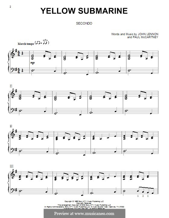 Yellow Submarine (The Beatles): For piano four hands by John Lennon, Paul McCartney
