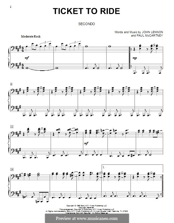 Ticket to Ride (The Beatles): For piano four hands by John Lennon, Paul McCartney
