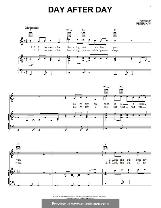 Day After Day (Badfinger): For voice and piano (or guitar) by Peter Ham