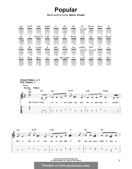 Popular (from Wicked): For guitar (very easy version) by Stephen Schwartz