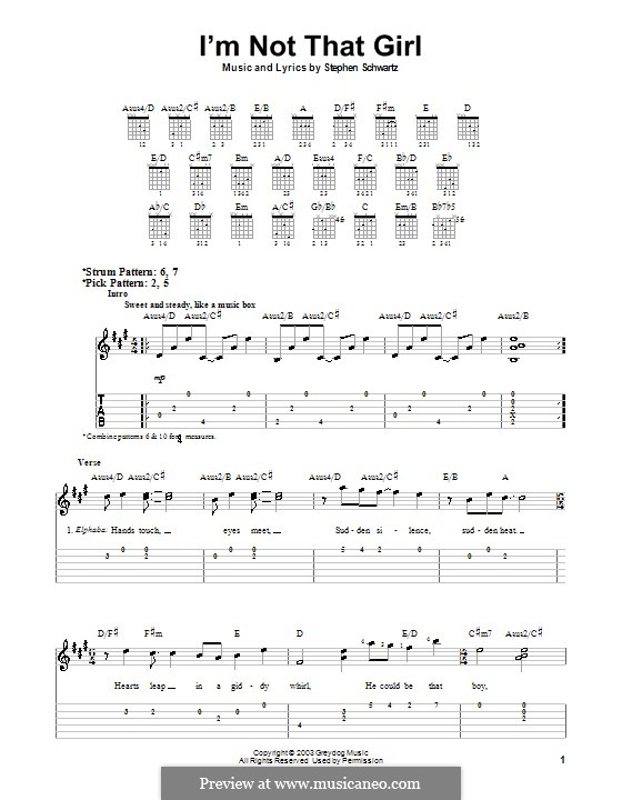 I'm Not That Girl (from Wicked): Easy guitar tab by Stephen Schwartz