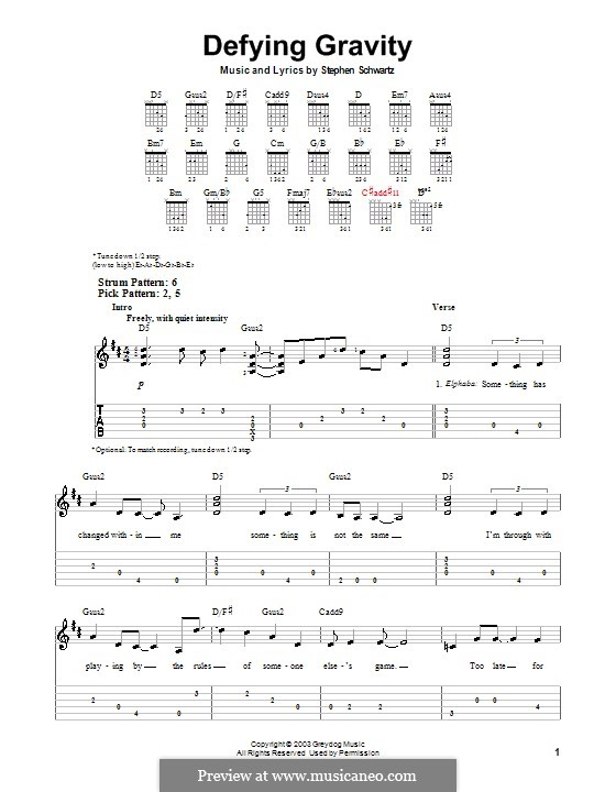 Defying Gravity (from the Broadway Musical Wicked): For guitar (very easy version) by Stephen Schwartz