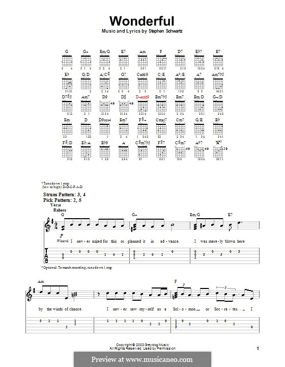 Wonderful (from Wicked): For guitar (very easy version) by Stephen Schwartz