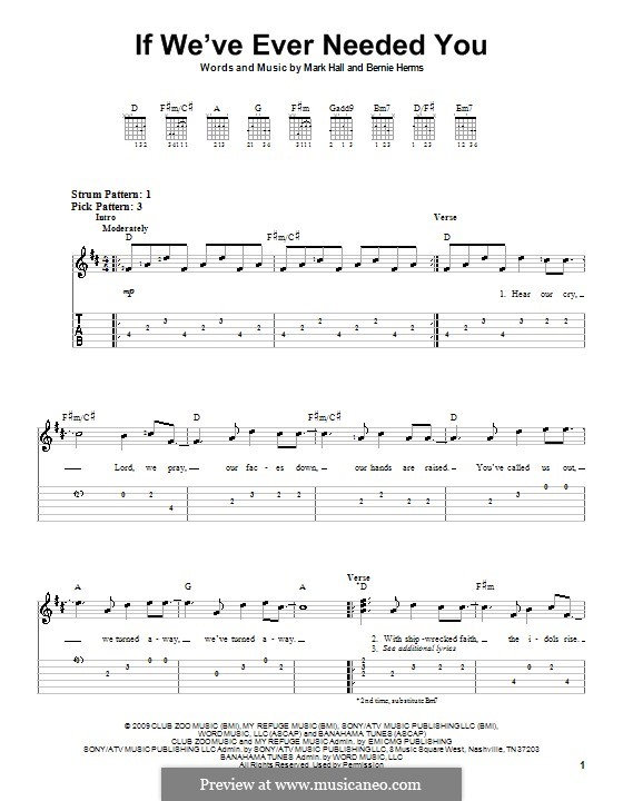 If We've Ever Needed You (Casting Crowns): For guitar (very easy version) by Bernie Herms, Mark Hall