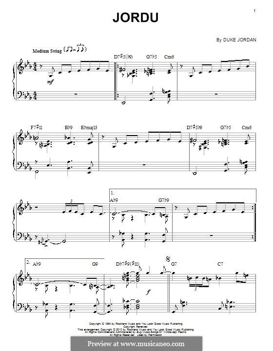 Jordu: For piano by Duke Jordan