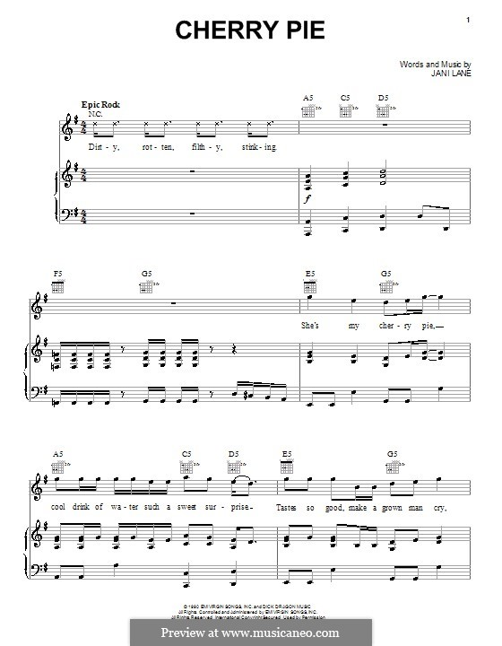 Cherry Pie (Warrant): For voice and piano (or guitar) by Jani Lane