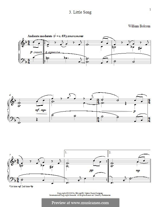 Little Song: For piano by William Bolcom