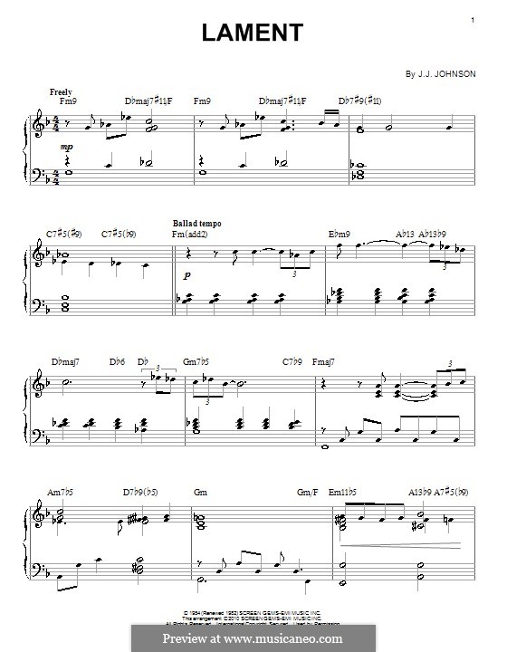 Lament: For piano by J.J. Johnson