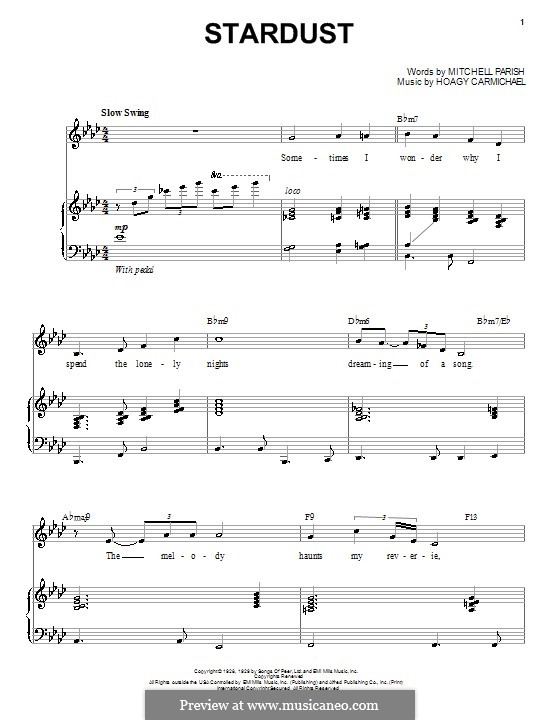 Stardust (Frank Sinatra): For voice and piano (or guitar) by Hoagy Carmichael