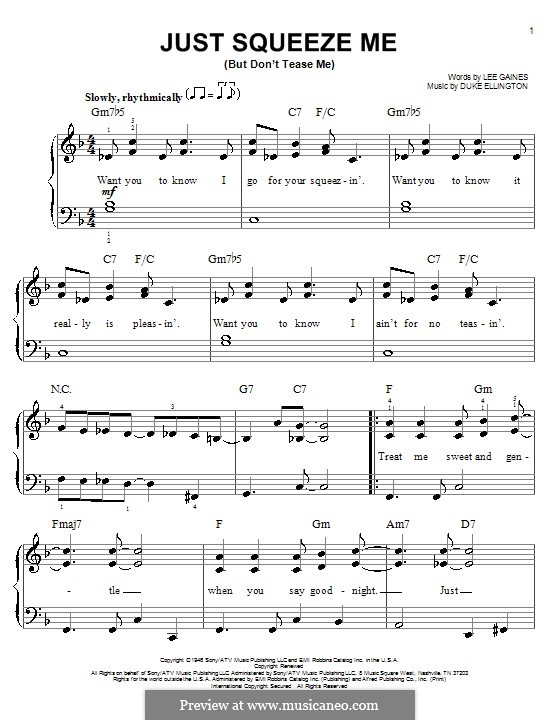 Just Squeeze Me (But Don't Tease Me): For easy piano by Lee Gaines