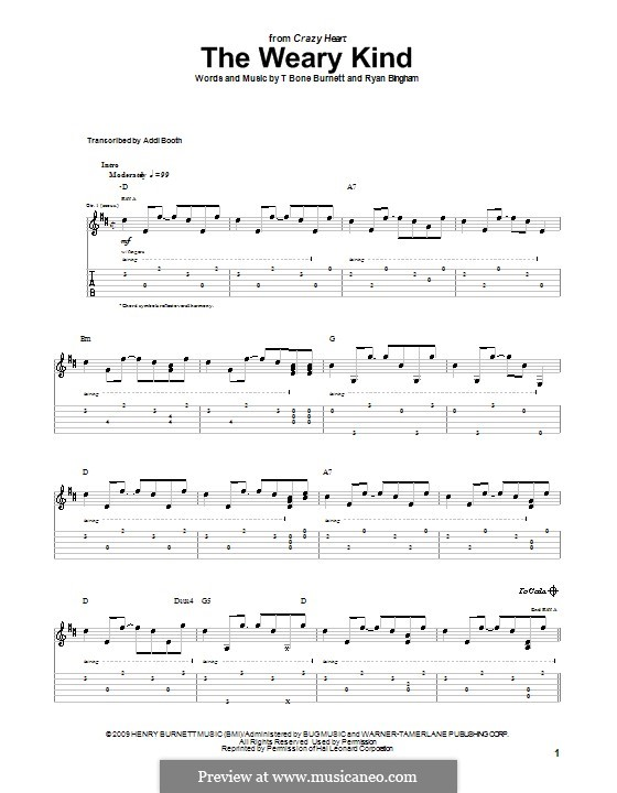 The Weary Kind: For guitar with tab by Ryan Bingham