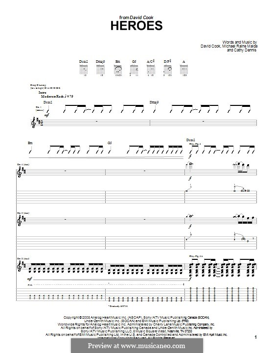 Heroes: For guitar with tab by Cathy Dennis, Raine Maida