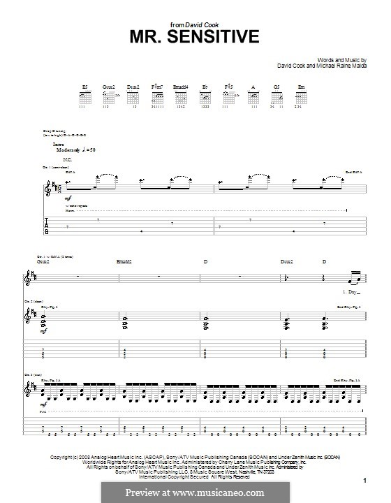 Mr. Sensitive: For guitar with tab by Raine Maida