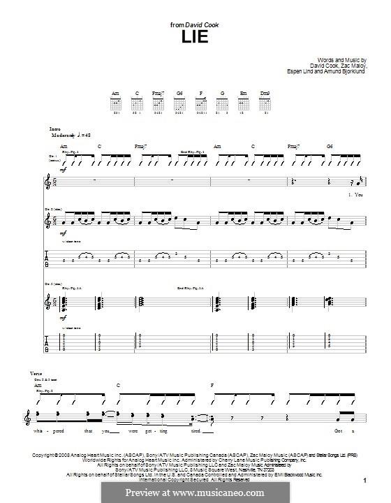 Lie (David Cook): For guitar with tab by Amund Bjorklund, Espen Lind, Zac Maloy