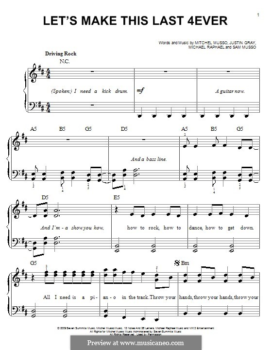 Let's Make This Last 4ever (Mitchel Musso): For easy piano by Justin Gray, Michael Raphael, Sam Musso