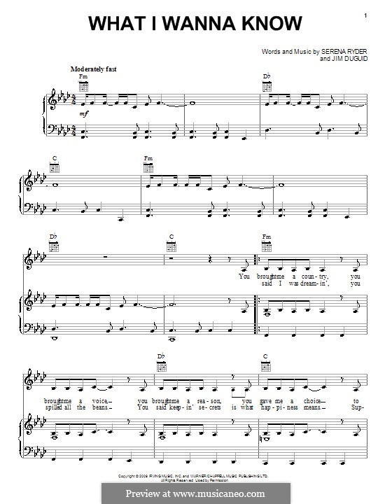 What I Wanna Know (Serena Ryder): For voice and piano (or guitar) by Jim Duguid