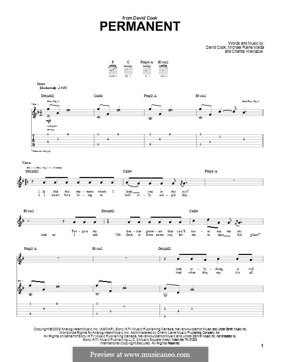 Permanent (David Cook): For guitar with tab by Chantal Kreviazuk, Raine Maida