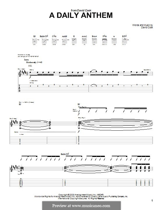 A Daily Anthem: For guitar with tab by David Cook