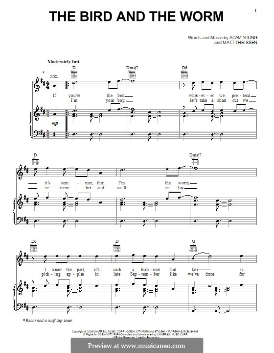 The Bird and the Worm (Owl City): For voice and piano (or guitar) by Adam Young, Matt Theissen