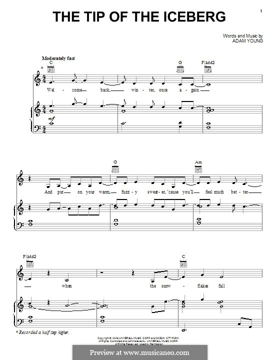 The Tip of the Iceberg (Owl City): For voice and piano (or guitar) by Adam Young