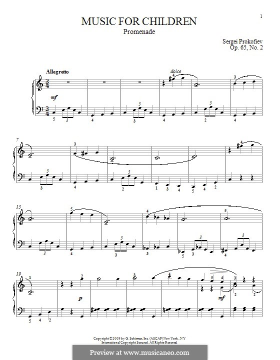 Music for Children, Op.65: No.2 Promenade by Sergei Prokofiev