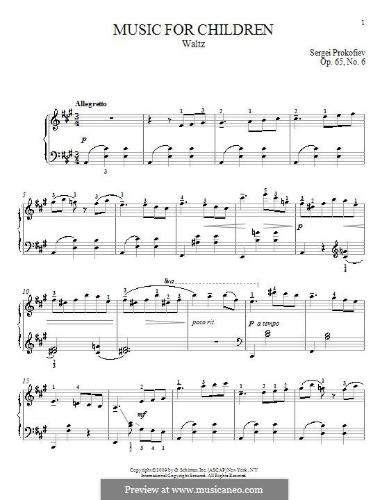 Music for Children, Op.65: No.6 Waltz by Sergei Prokofiev