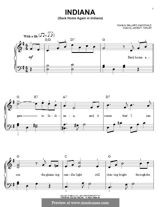 Indiana (Back Home Again in Indiana): For easy piano by James Frederick Hanley