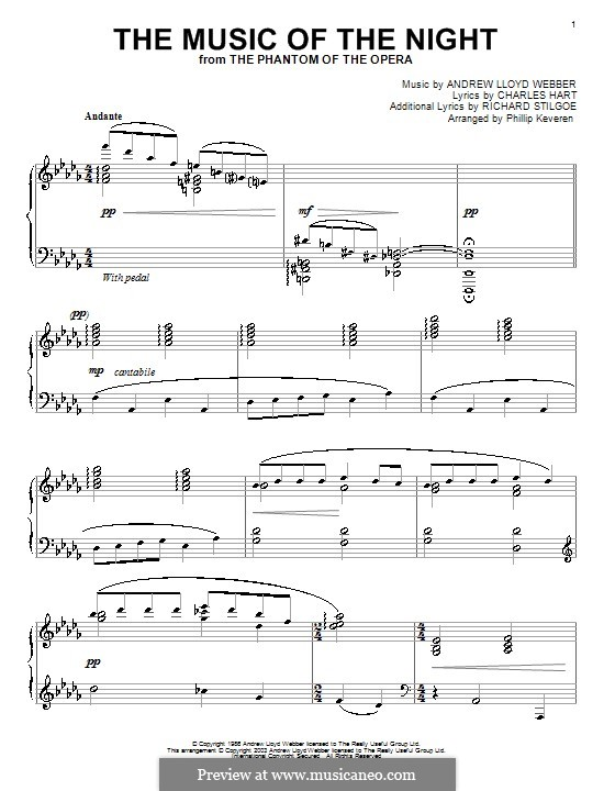 The Music of the Night: For piano by Andrew Lloyd Webber
