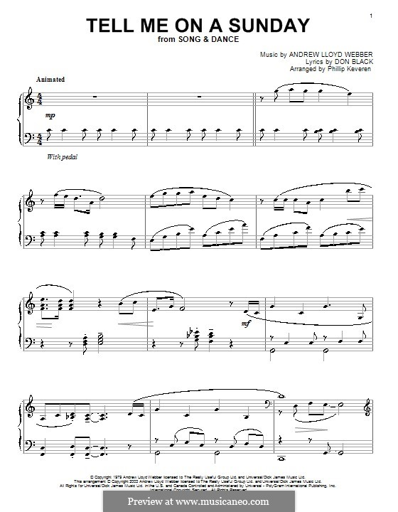 Tell Me on a Sunday: For piano by Andrew Lloyd Webber