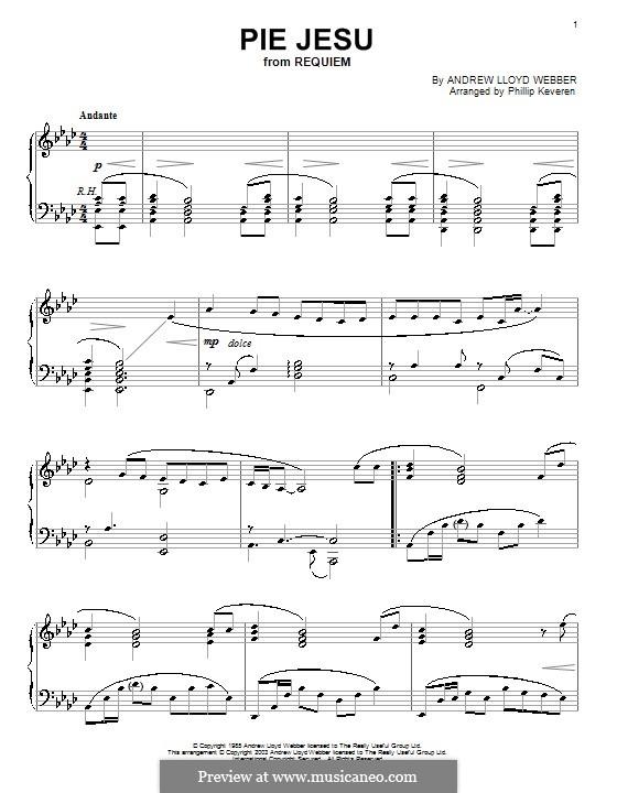 Pie Jesu (from Requiem): For piano by Andrew Lloyd Webber
