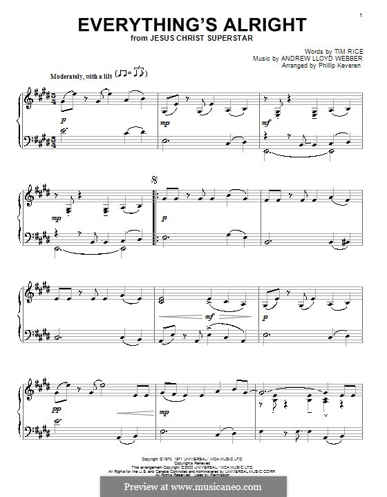 Everything's Alright: For piano by Andrew Lloyd Webber