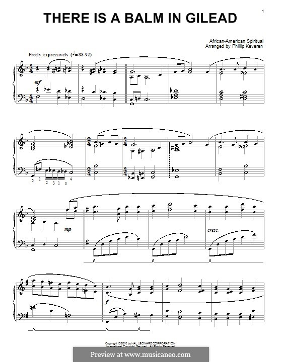 There Is a Balm in Gilead: For piano by folklore