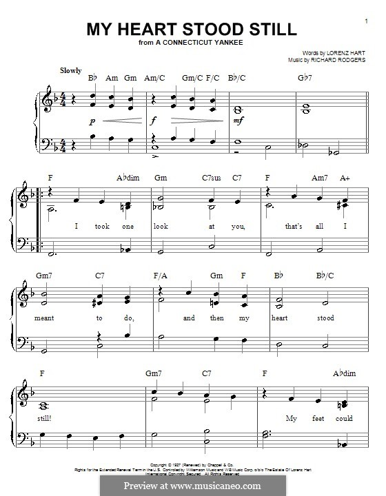 My Heart Stood Still: For easy piano by Richard Rodgers