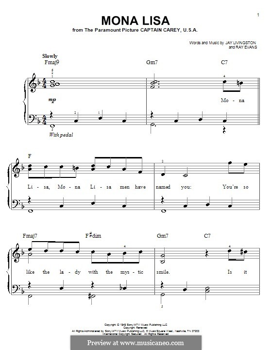 Mona Lisa (Nat King Cole): For easy piano by Jay Livingston, Raymond Evans