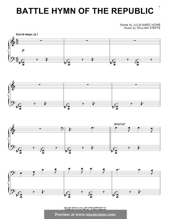 Battle Hymn of the Republic: For piano by William Steffe