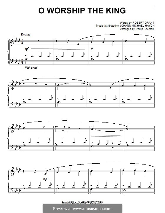 O Worship The King: For piano (A Flat Major) by Michael Haydn