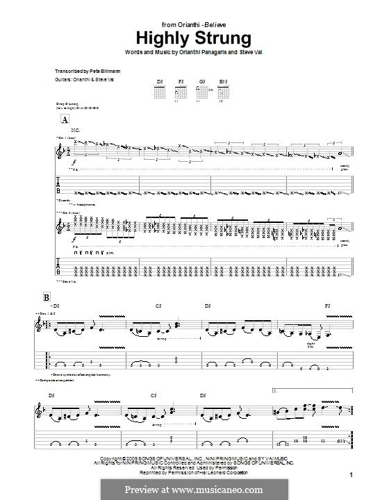 Highly Strung (Orianthi): For guitar with tab by Orianthi Panagaris