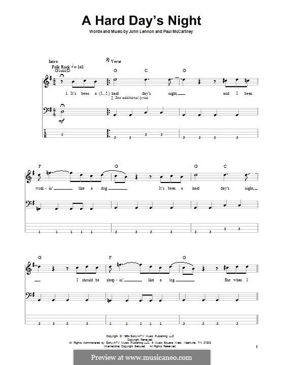 A Hard Day's Night (The Beatles): For bass guitar by John Lennon, Paul McCartney